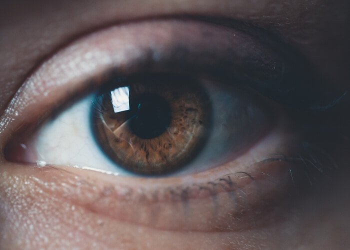 Close up of an eye with brown iris